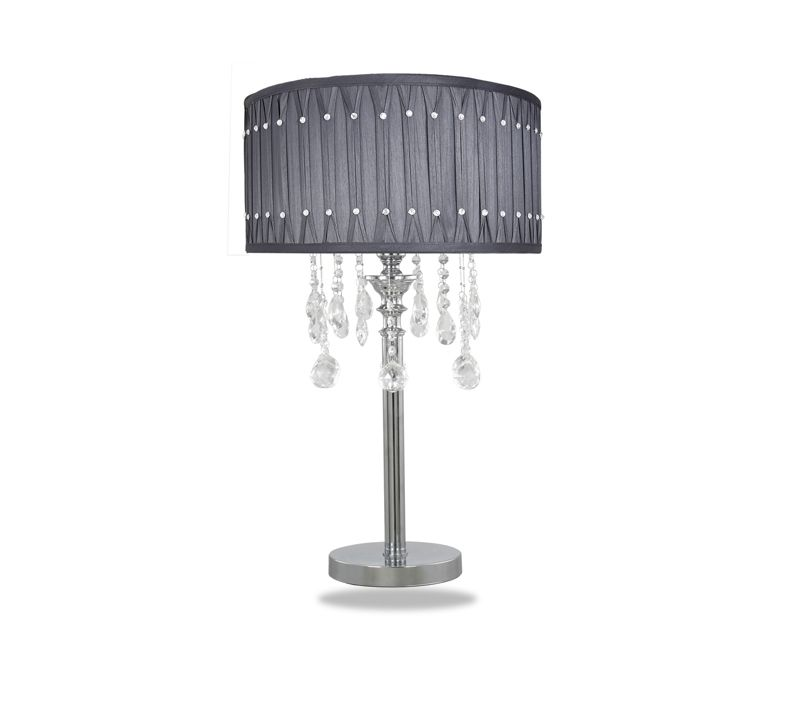 Crystal Drop Table Lamp Grey Shade Stunning Chrome With Cut Gl Droplets And Diamante Studded Pleated Free Delivery 50 Off