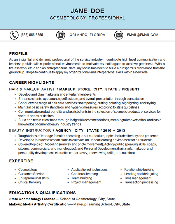 Cosmetology Resume Templates Cosmetology Resume Example  Resume Examples Cosmetology And Bath