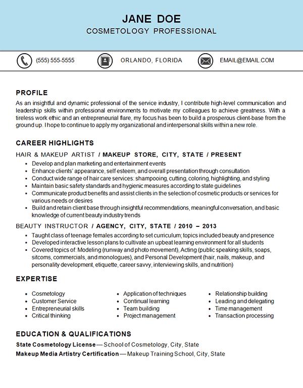 cosmetology resume example