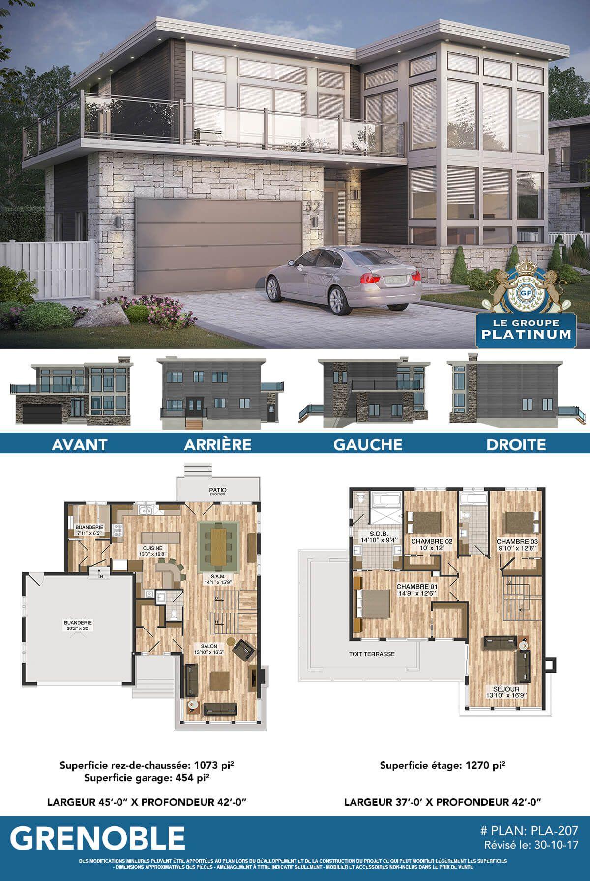 Le Grenoble Maisons Neuves à Vendre à Blainville Le Groupe Platinum Plan Maison Moderne Maison D Architecture Maison