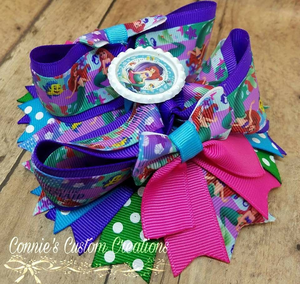 inch little mermaid stacked ott bow on lined alligator clip