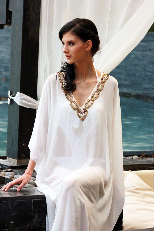 ef1c61ee98 Long White Beach Kaftan   White Caftan Dress   Kaftan, White kaftan ...