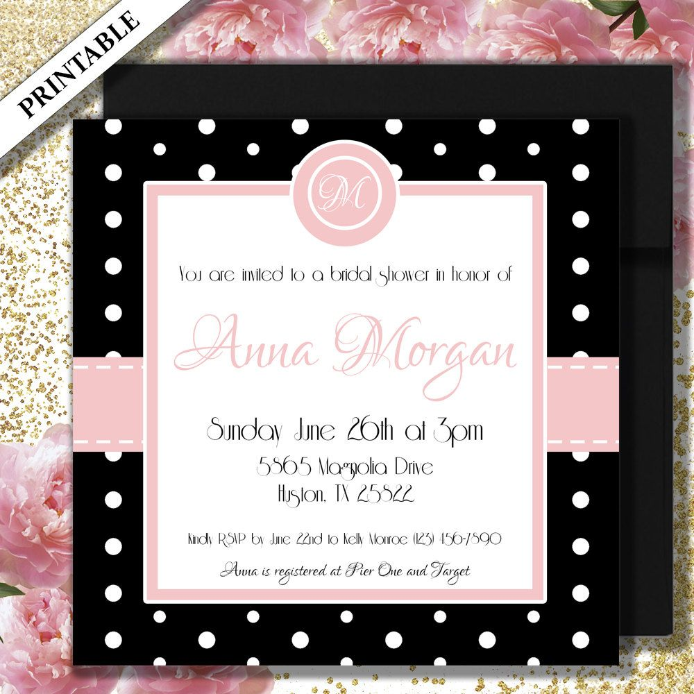Bridal shower invitation printable 5x5 square invites black and bridal shower invitation printable square invites black and pink with white polka dot bridal shower invitations invite by abridalstory on etsy filmwisefo
