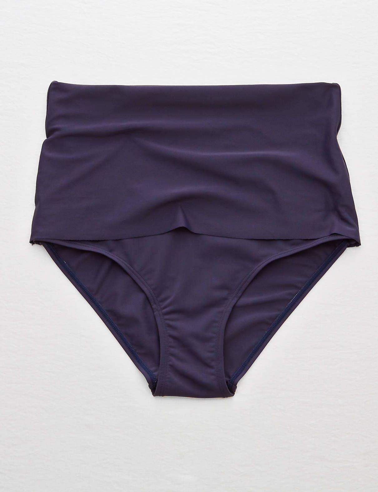 54efb202bffb9 Aerie Hi-Rise Foldover Bikini Bottom , Navy | Aerie for American Eagle