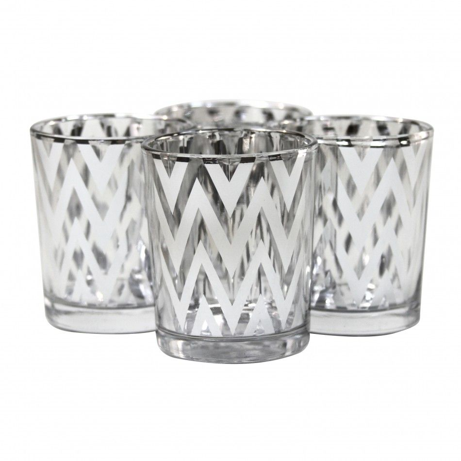 Chevron votive candle holders silver silver chevron glass