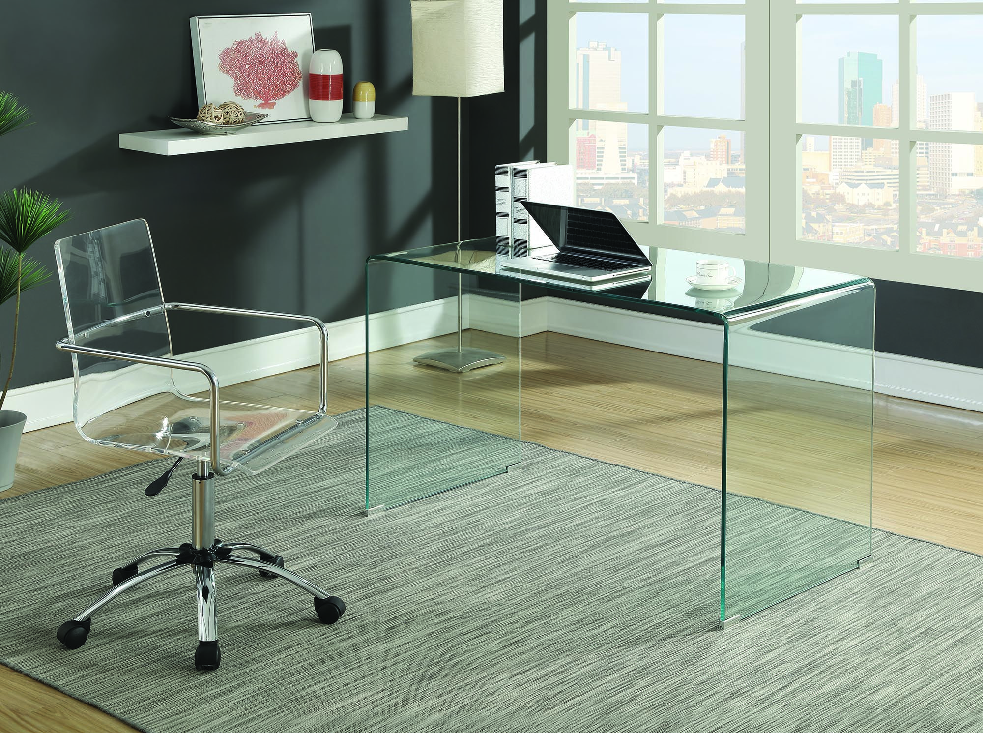 Solid Glass Desk 801581 Clear Tempered Glass Round Modern Glass