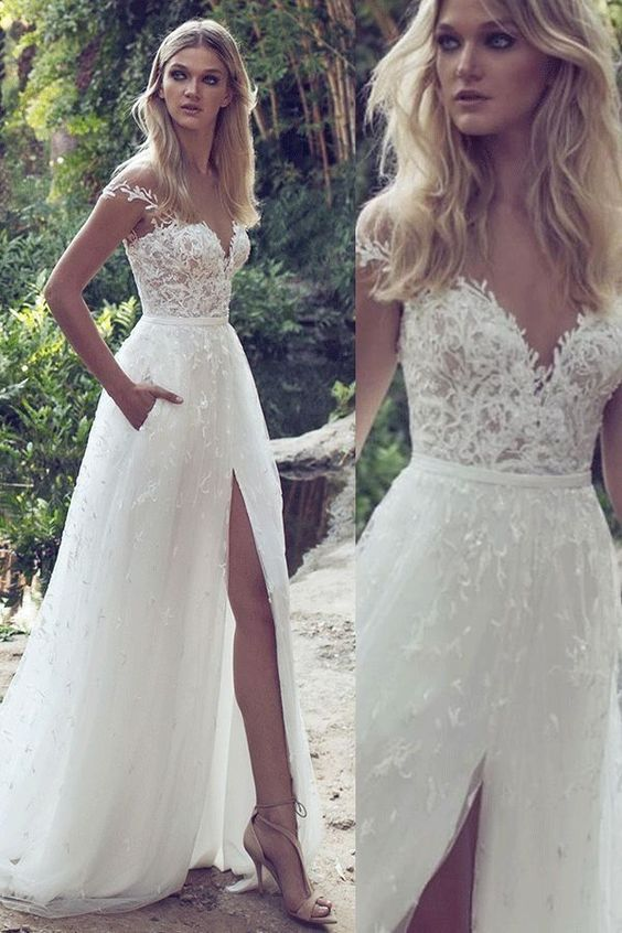 Sexy Lace Tulle Wedding Dress With Front Slit,Bridal Dress #dreamdates