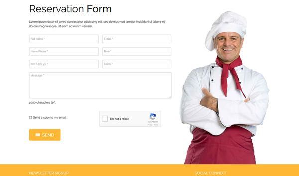 Dedicated Reservation Form To Book Table  Joomla Templates