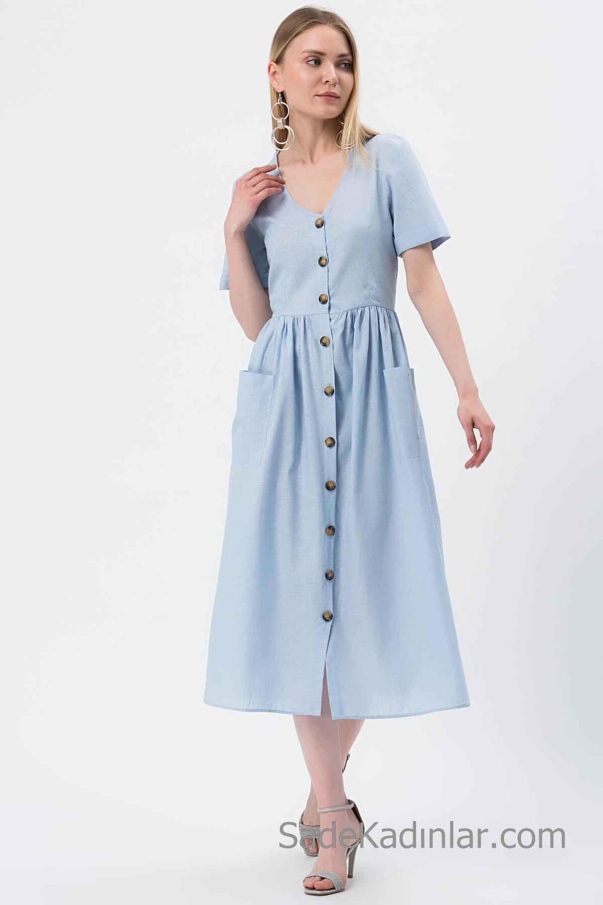 2020 Yaz Icin Gunluk Keten Elbise Modelleri Mavi Midi V Yakali Kisa Kol Dugmeli Cep Detayli Elbise Modelleri Elbise Tarz Elbiseler