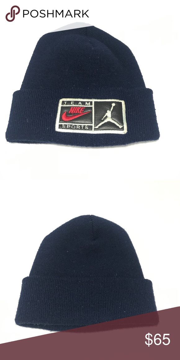 14b310b50311 🌹RARE Jordan Nike Team Sport Toboggan RARE Jordan Team Sport 90 s Nike  Toboggan Hat Leather Patch Nike Accessories Hats