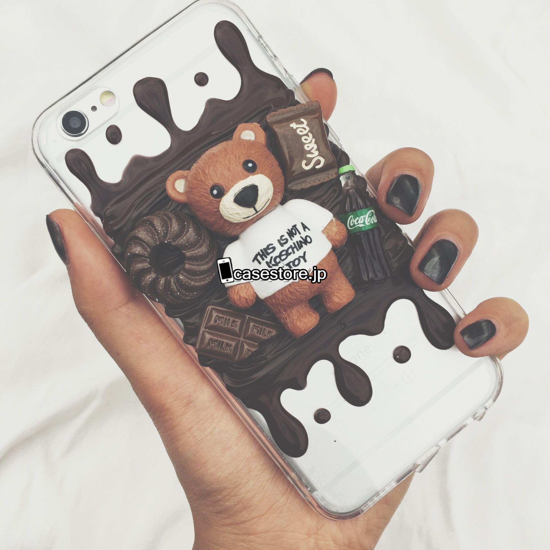テディベア熊クマMOSCHINOキャラクターかわいいDIYクリーム立体iPhone8/7s/7plusスマホケース