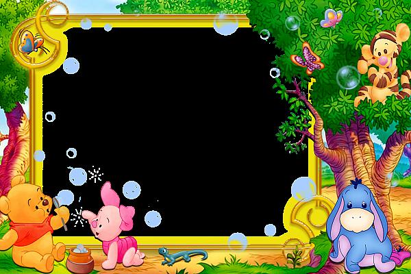 Transparent Kids Png Frame With Kanga Winnie The Pooh: Kids Transparent Frame With Winnie The Pooh