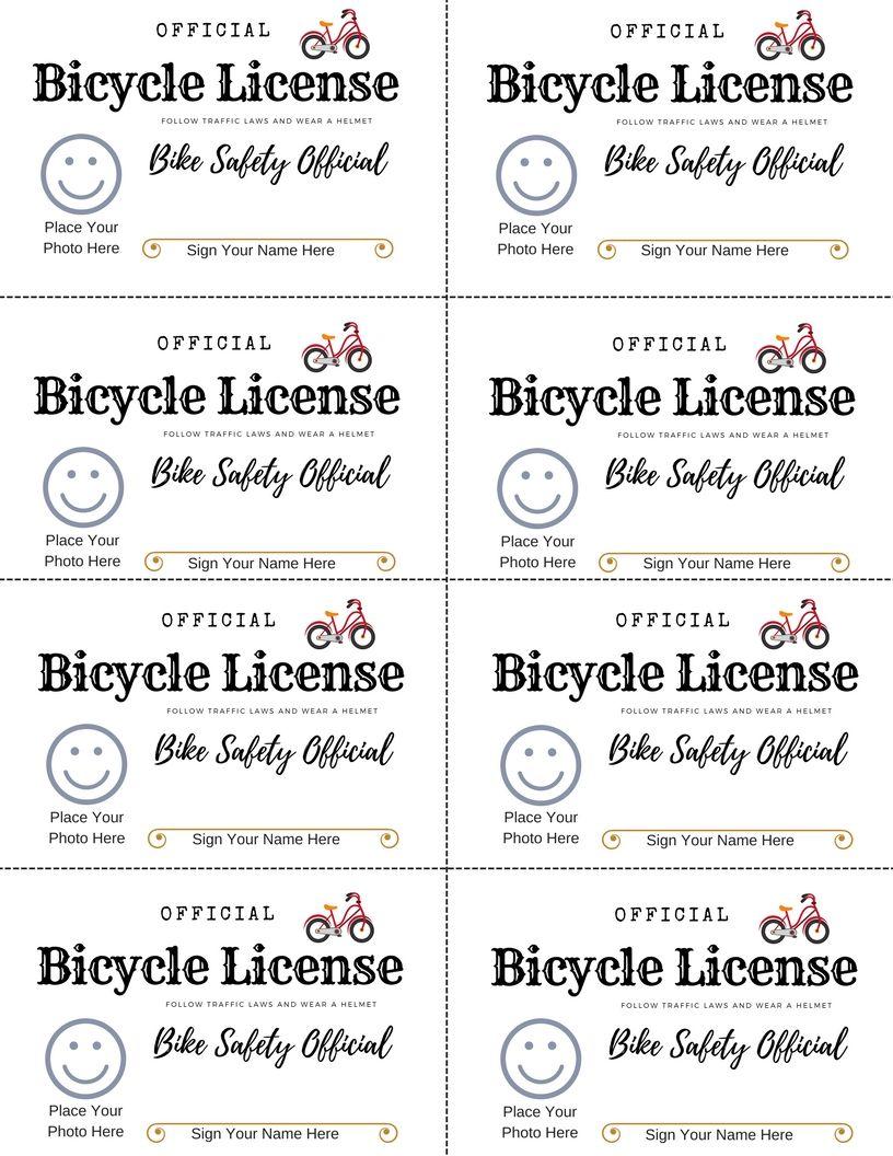 Free printable bike safety license to teach kids bicycle