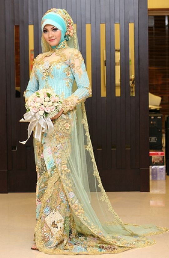 The sky-blue #sari, for the traditional #bride. | Bridal Dresses ...