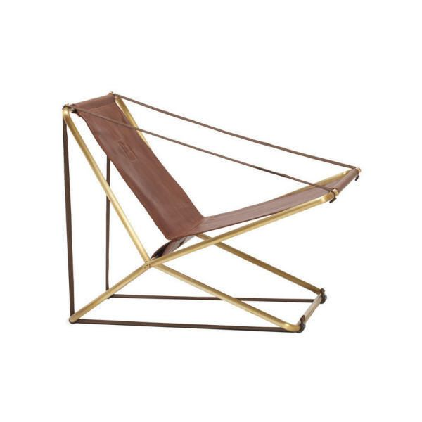 Brown Jordan Cricket Folding Lounge Chair in Brass found on Polyvore
