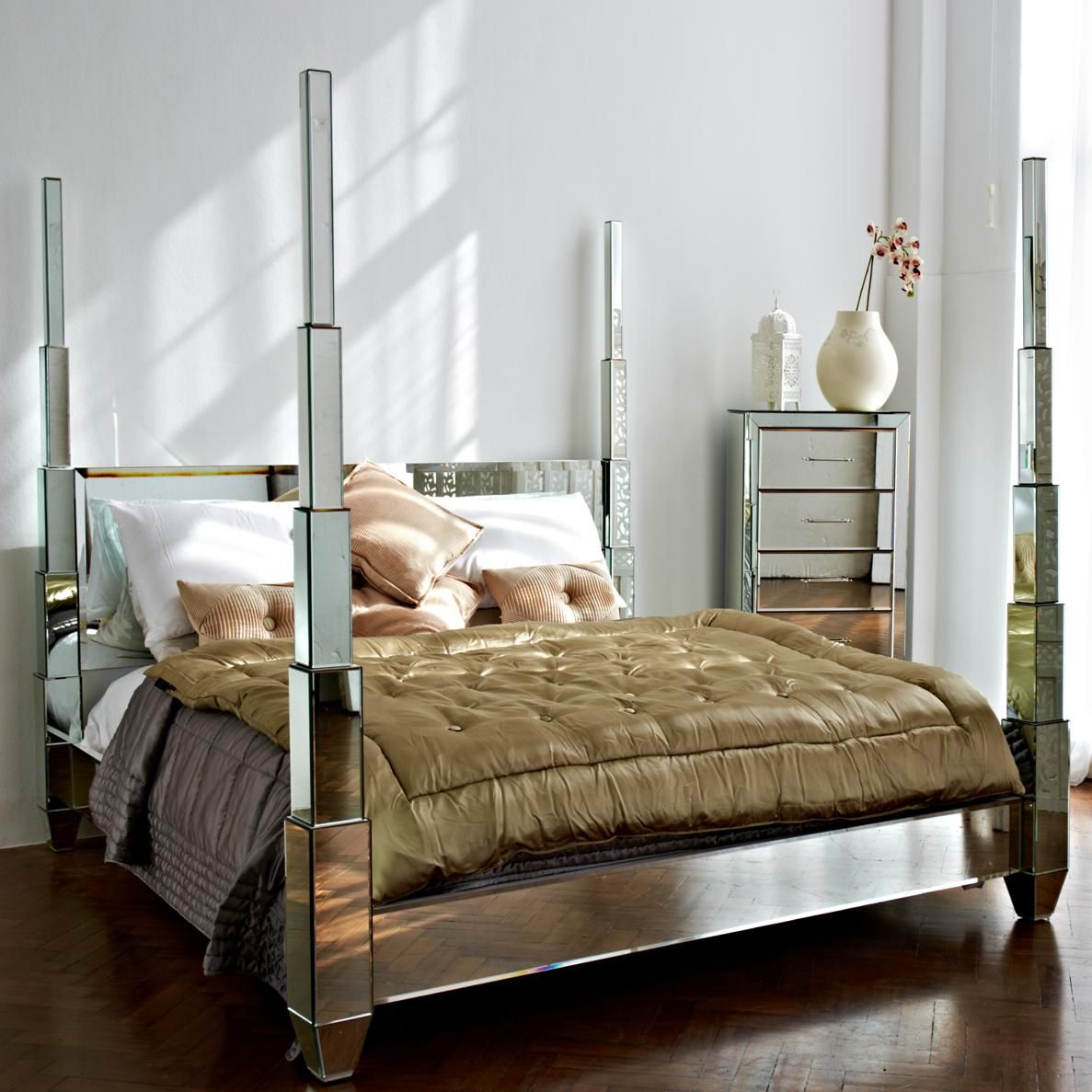 Mirrored Furniture Bedroom: Prism Mirrored Statement Bed From The Mirrored Bed Company