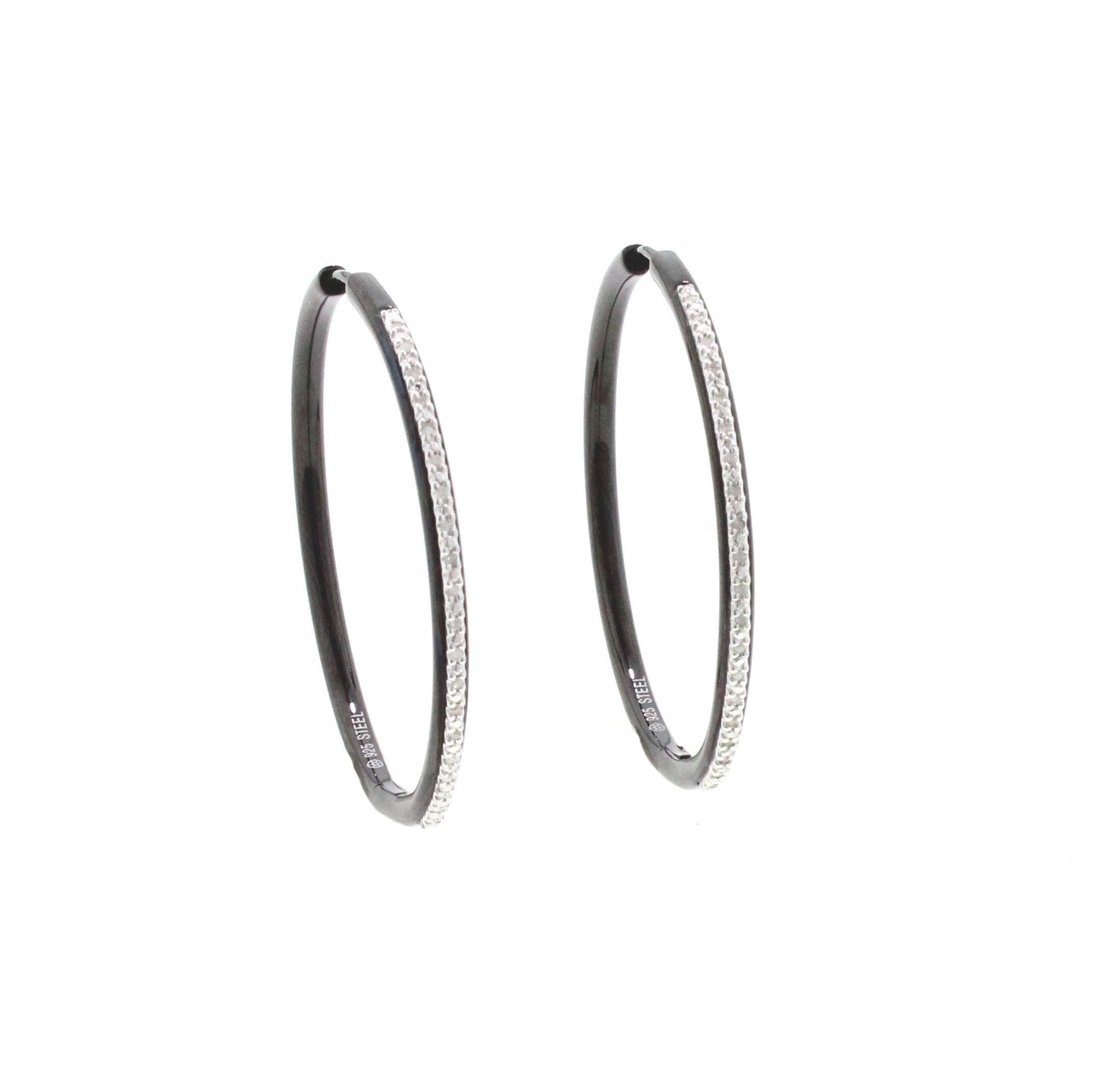 These large hoop earrings are steel with black rhodium and have 0.13 carats of diamonds.