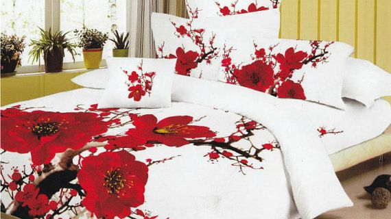 Red Poppy Bedding Set By Dreamersescape On Etsy 200 00 Sets Bed Comforter
