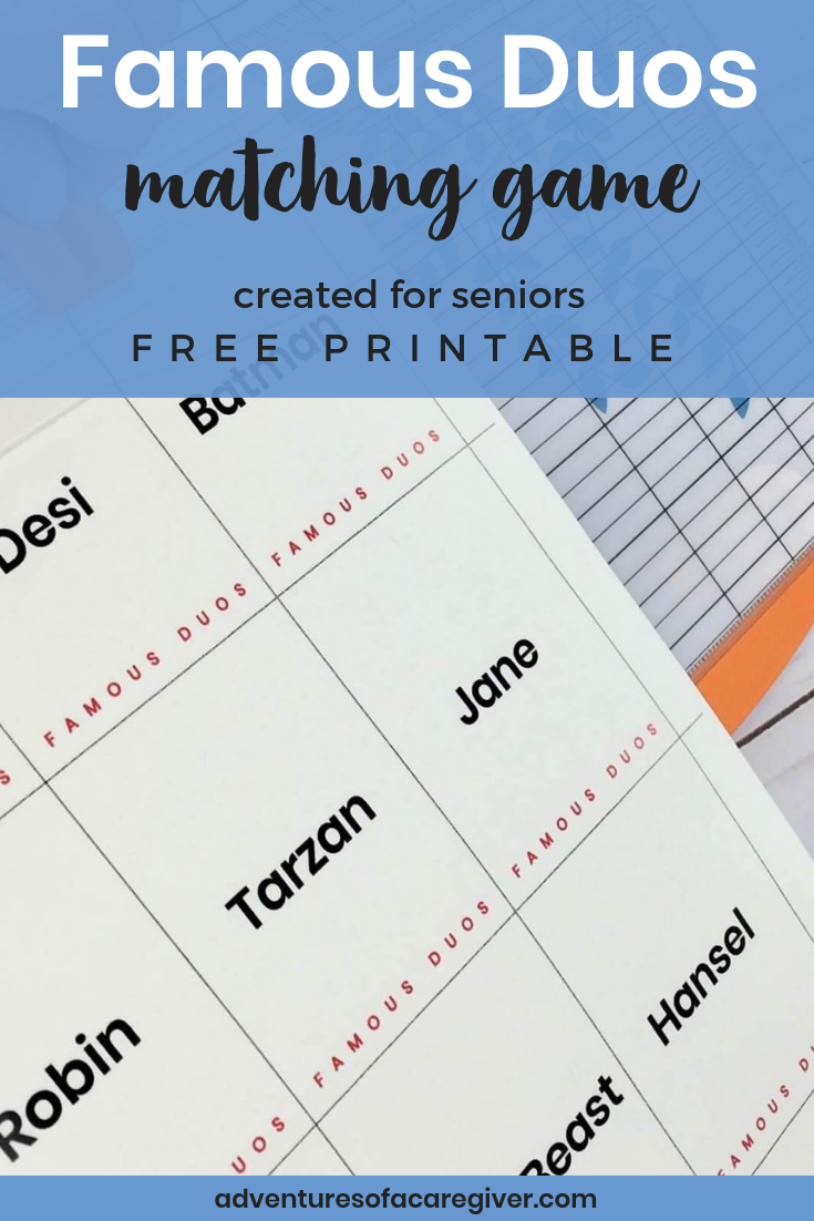 photograph about Free Printable Activities for Dementia Patients known as Popular Duos No cost Printable - Alzheimers and Dementia