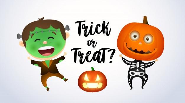 Скачивайте Happy halloween надписи, замок и дети в ...