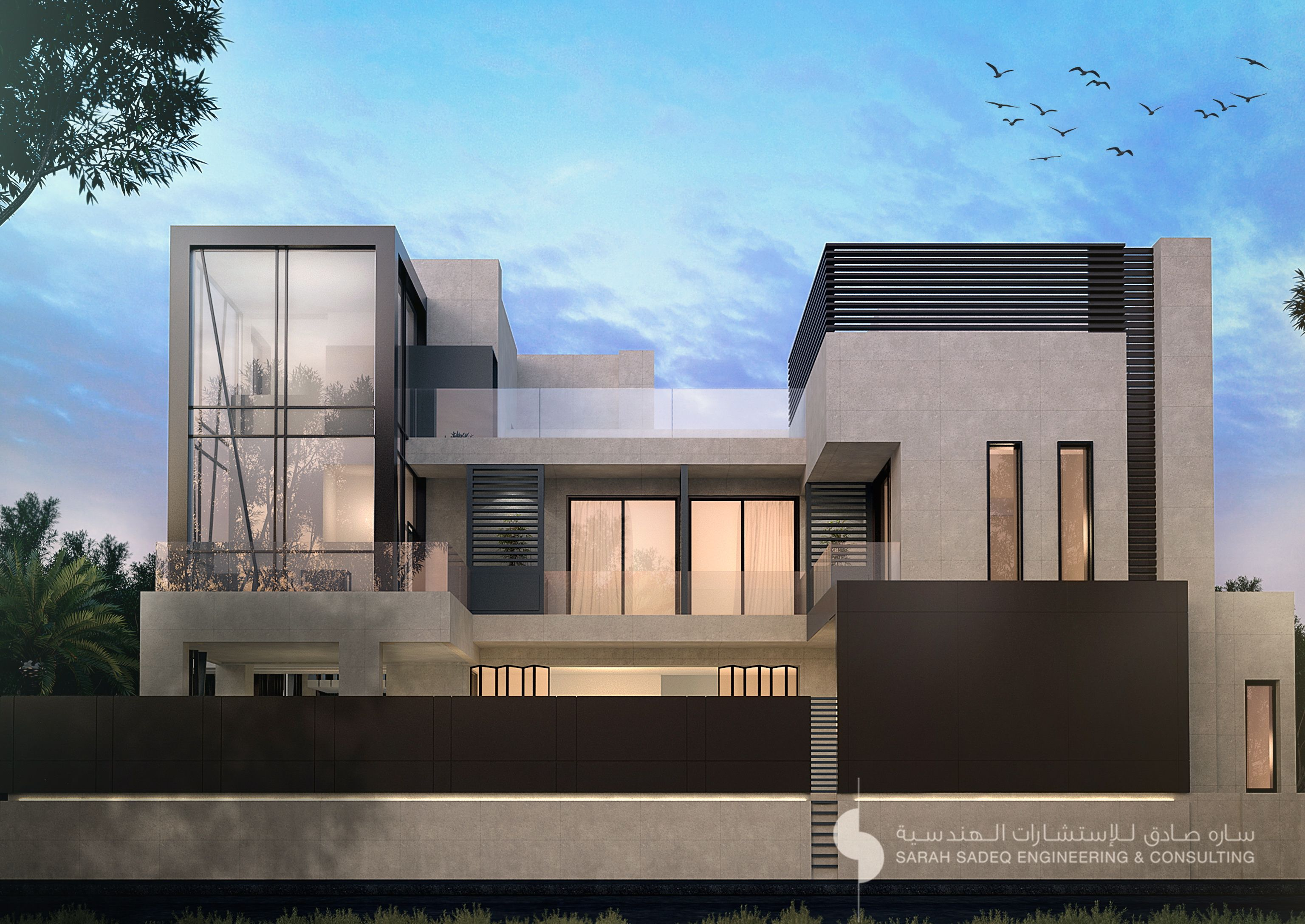Private villa 400 m kuwait sarah sadeq architects sarah for Facade villa moderne
