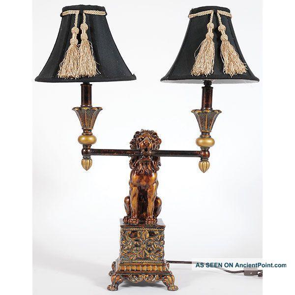 Vintage Style Lion Double Lights Table Lamp 24 Tall Lamp Table Lamp Light Table