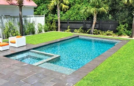 Rectangle Pool Square Spa Grass And Stone Deck Rectangle Pool With