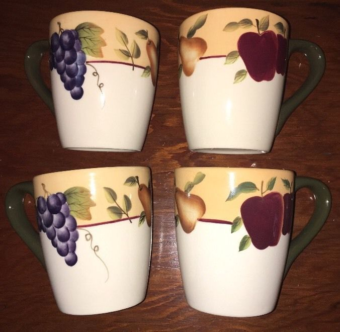 Set Of 4 HOME INTERIORS Gifts Sonoma Villa Coffee Mugs Fruit