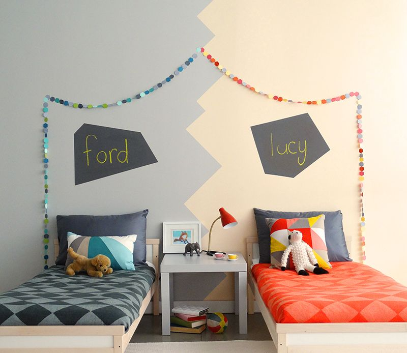 Colorhouse paint Spring Color Trend Puzzle Palette DIY Chalkboard Headboard bedroom painting idea