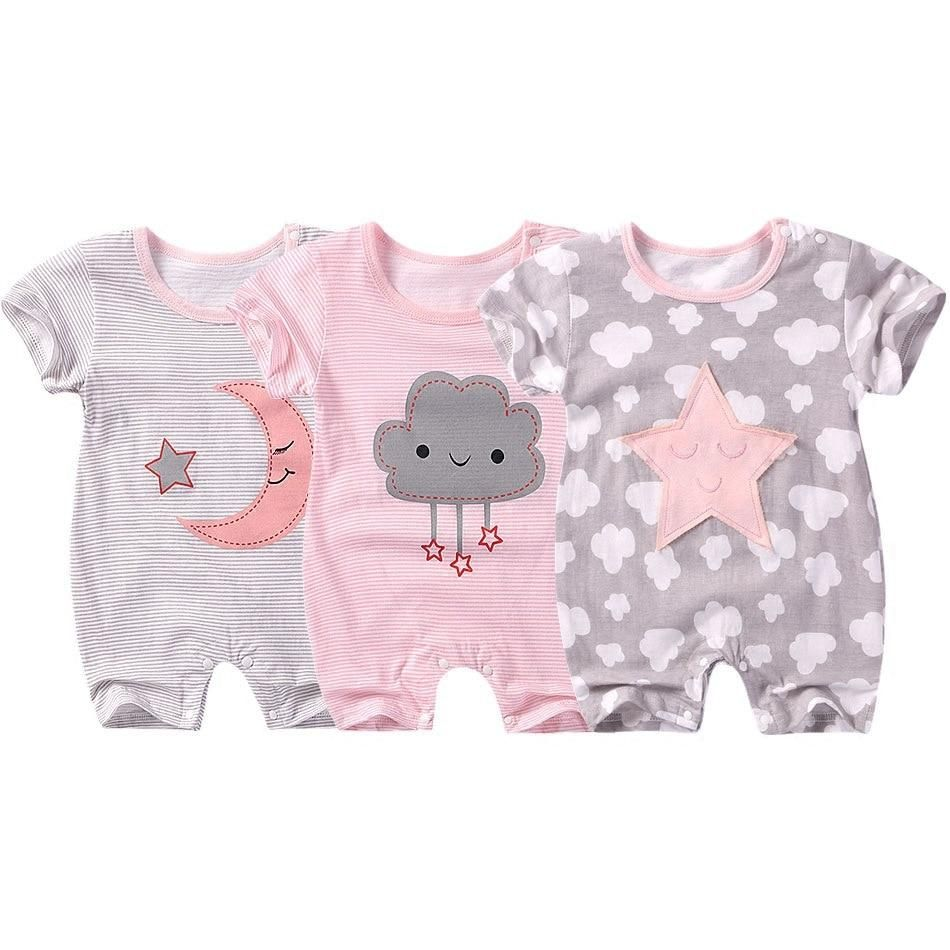 2020 New Newborn Infant Baby Cartoon Short Sleeve Romper Boy Girl Clothes Outfit
