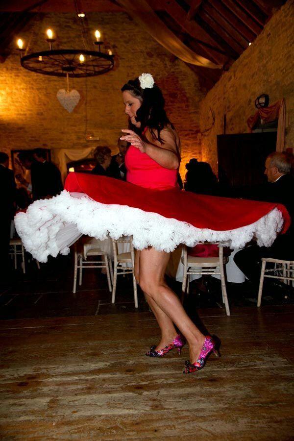 Red dress white petticoat