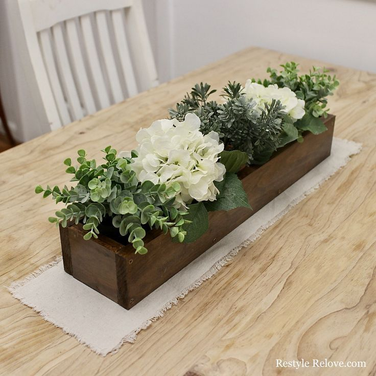 DIY Rustic Wooden Box Centrepiece images