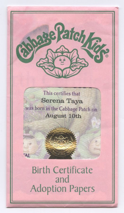 Cabbage patch certificate printable see the small card with the code on it the seller printed for Cabbage patch birth certificate template