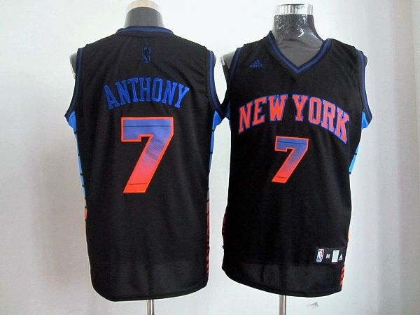 Adidas NBA New York Knicks 7 Carmelo Anthony Black Color Swingman Jersey ca7cb4cd7