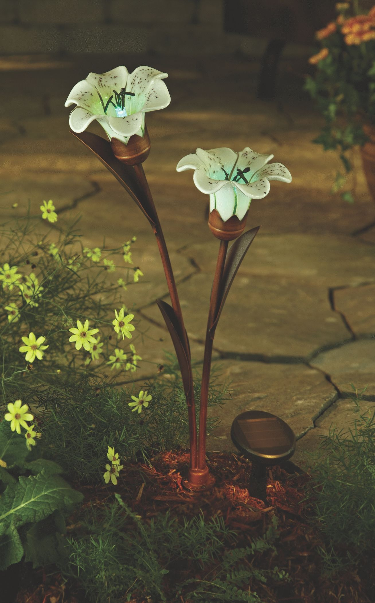 Make your garden glow with the tiger lily flower solar
