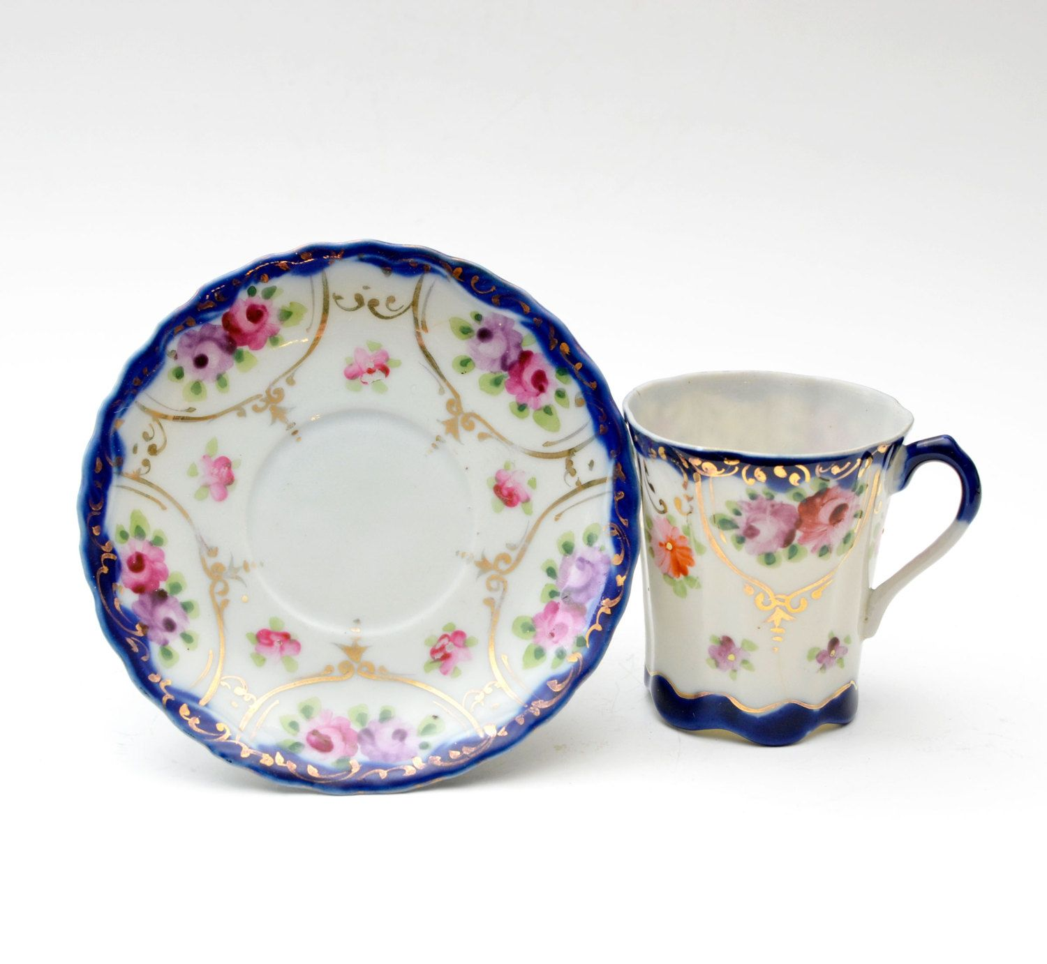 Vintage Hand Painted Nippon Tea Cup and Saucer Floral Cobalt Blue with Gold Accents Victorian Style  sc 1 st  Pinterest & Vintage Hand Painted Nippon Tea Cup and Saucer Floral Cobalt Blue ...