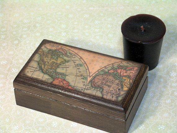 Antique Map Box Great For A Guy Too Arts Crafts Pinterest - Antique map box