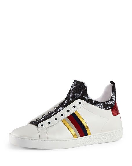 Gucci New Ace Lace And Leather High Top