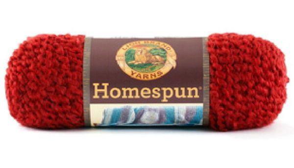 Homespun Yarn Knit Crochet Lion Brand 6 Oz Candy Apple Solid Deep