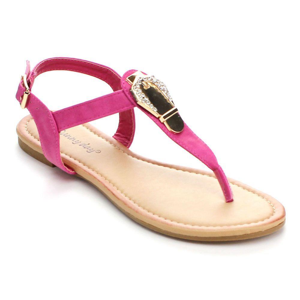 DYNASTY Sunny Day Women's Glint-6 Metal Rhinestone T-strap Sandals