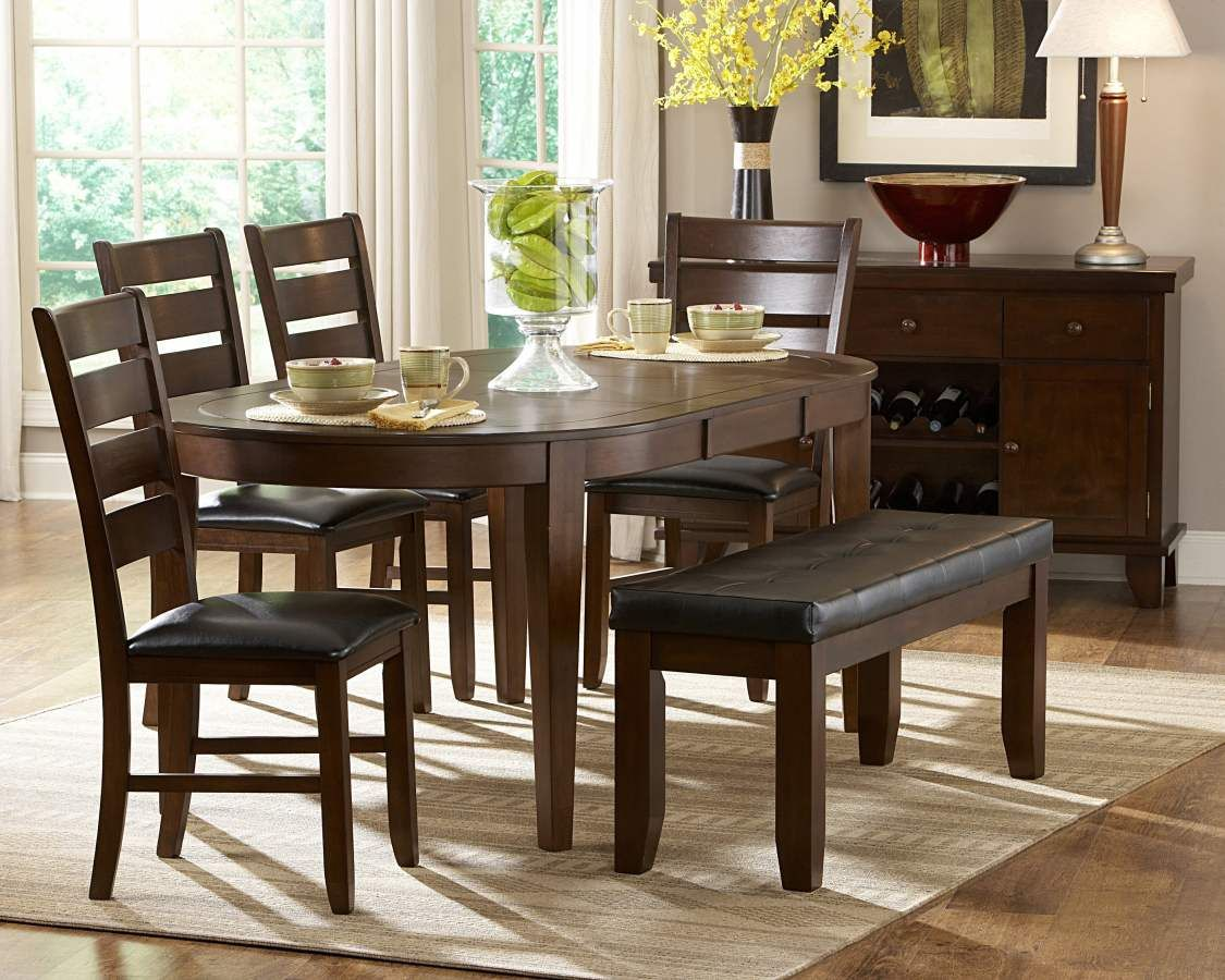 Round Table With Butterfly Extension 4 Chairs 1 Bench Fairly Modern Legs Ameillia Dark Oak Wood Oval Table Dining Dining Room Sets Dining Table In Kitchen