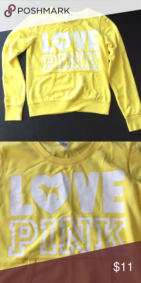 Victoria's Secret Pink crew Yellow Victoria's Secret Pink crew hoodie with pocket. Like new. BRIGHTER THAN SHOWN IN PICTURES PINK Victoria's Secret Tops Sweatshirts & Hoodies