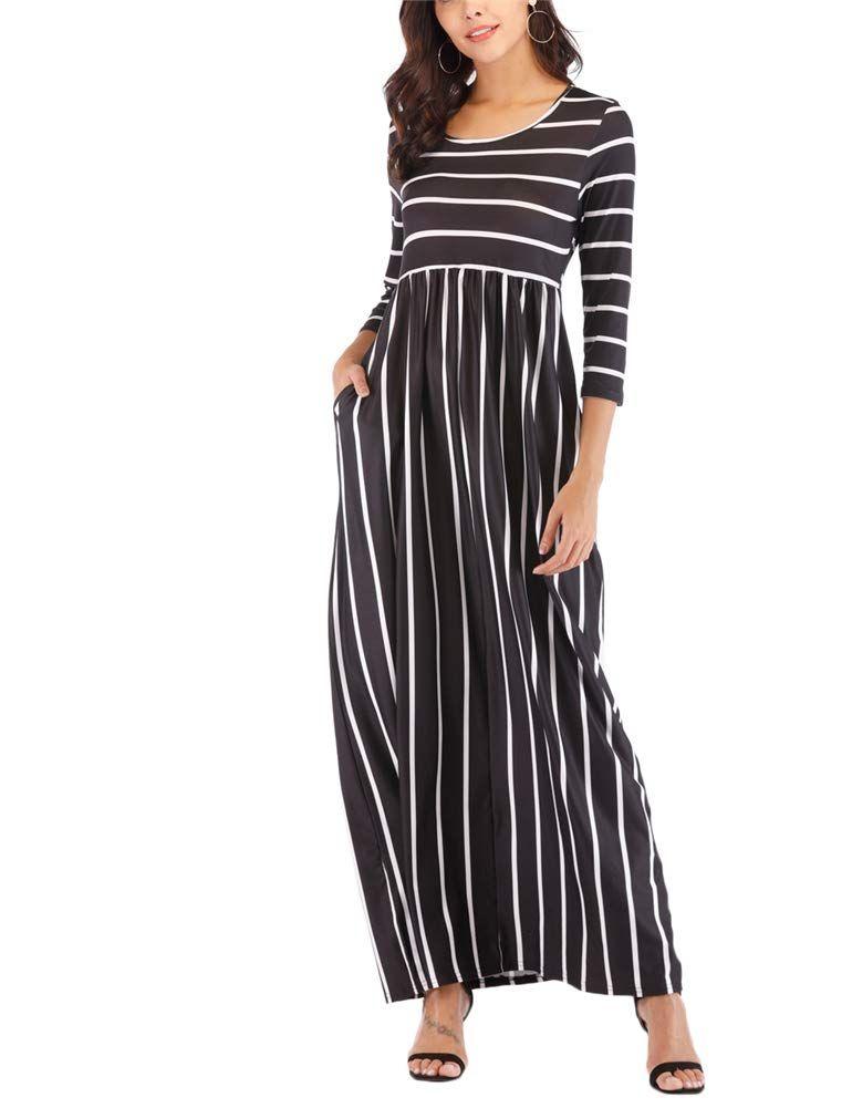 34c55691f3c Agmibrelr Womens Elegant Striped Crew Neck 3 4 Sleeve T Shirt Ruffle Maxi  Dresses with Pokets