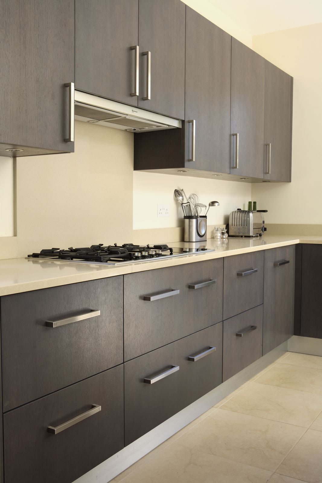 Silestone Crema Minerva Cream Quartz Kitchen Worktops Against Grey Kitchen Units With Upsta