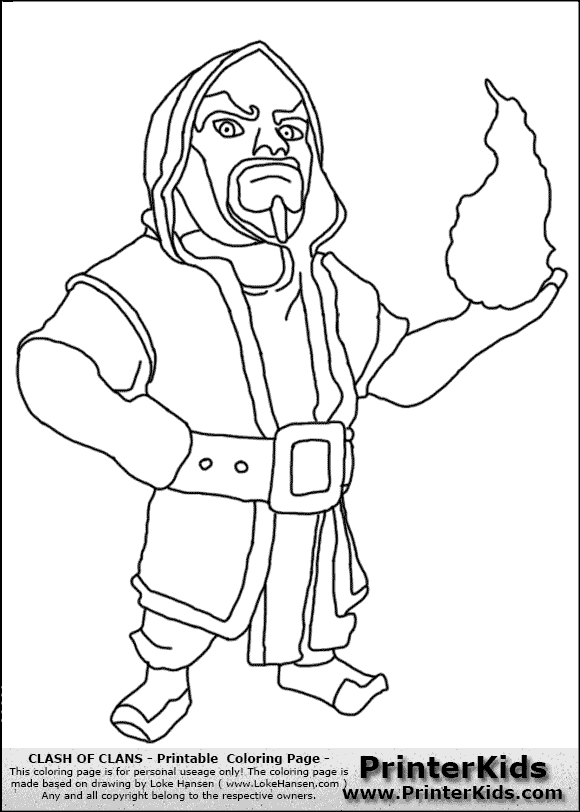 Clash Of Clans Wizard Coloring Page Clash Of Clans Pinterest