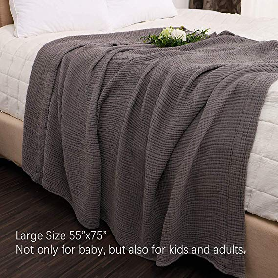 Amazon Com Emme 100 Cotton Muslin Blankets For Adults 4 Layer