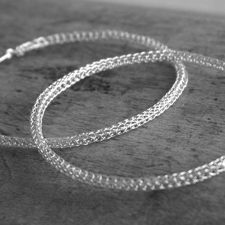 Riesige Silberne Creolen Silberdraht Häkeln Schmuck Modeschmuck