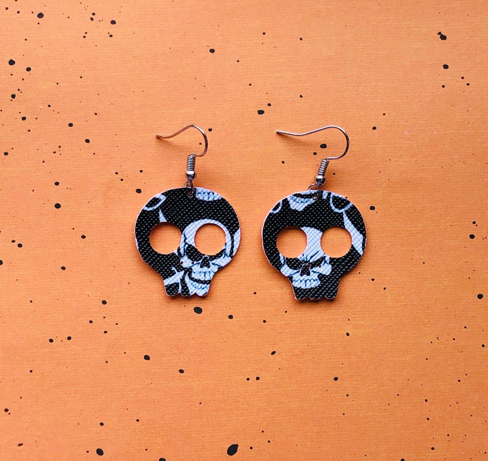 Skeleton Halloween spooky faux leather earrings