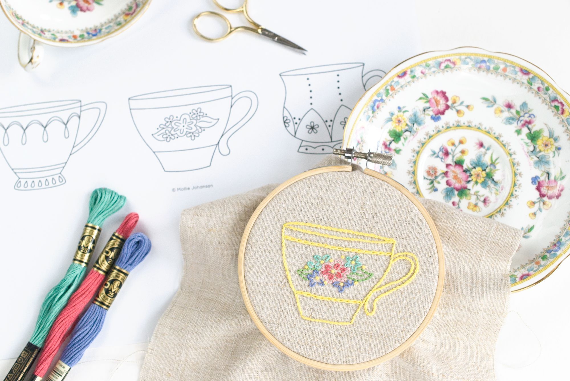 It's tea time with this free set of three teacup embroidery patterns. They're perfect for stitching simple gifts!