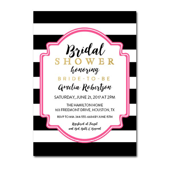 de29531c5620 Editable PDF Bridal Shower Invitation DIY - Black White Pink Gold Glitter - Instant  Download Printable- Edit in Adobe Reader